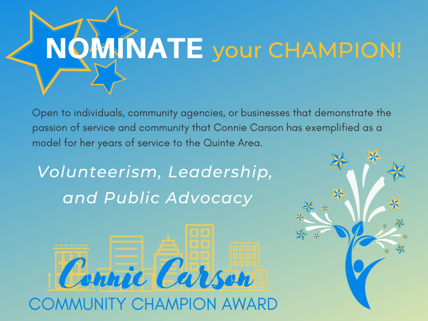 Nominations are now open for the 2nd Annual Connie Carson Community Champion Award